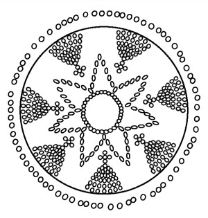 The sacred solar symbol, which was typical for the transfer of knowledge in the ancient times