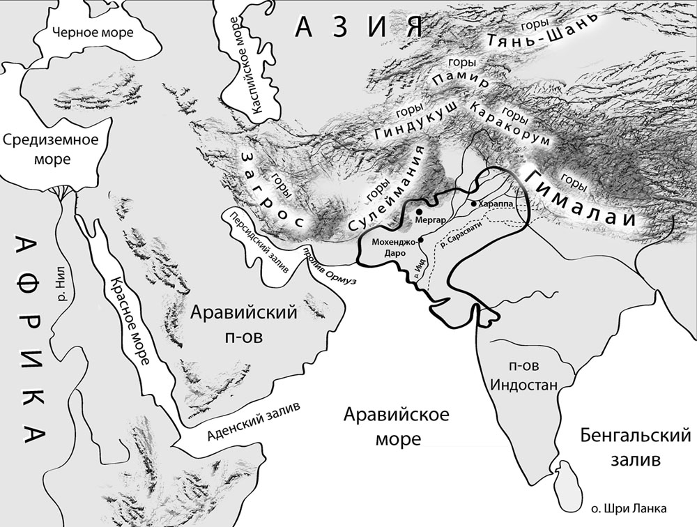 Map of location of the Harappan civilization