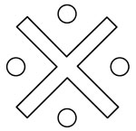 Variations of the diagonal cross with markings of the spaces of the four Aspects