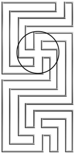Reverse swastika in religious institutions