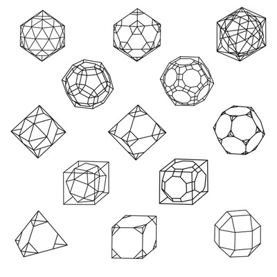 The primordial arrangement of 13 semiregular polyhedra